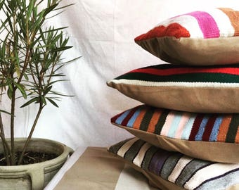 Colorful striped pillow