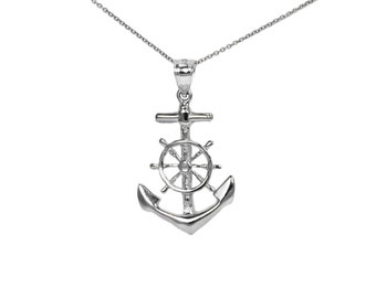 Sterling Silver Anchor and Ship Wheel Necklace, Dainty Silver Anchor and Ship Wheel Charm, Sailing Jewelry Large Sailing Jewelry, Delicate