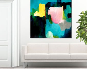 Large abstract print pink blue, abstract painting print turquoise, navy blue abstract art print, abstract print for bedroom, Pink Champagne