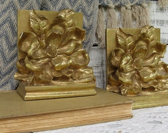 Vintage Magnolia Bookends - Decorative Bookends - Gold Magnolia Bookends - Southern Charm - Flower Bookends - Cottage Chic