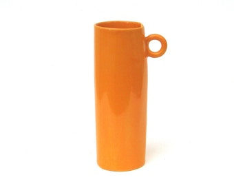 whimsical hand built tall orange porcelain cup   ...  mid century modern