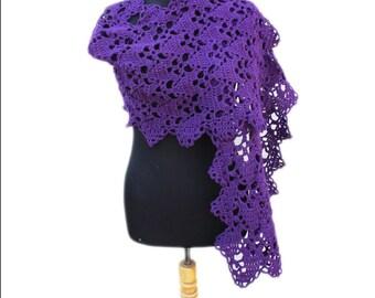 Ultra violet scarf Crochet shawl, Lace crochet stole, Crochet scarf, Crochet stole, violet shawl, Violet Lace stole Crocheting