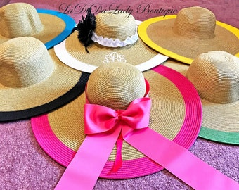 Monogrammed Floppy Hat Personalized Bride, Gorgeous, Bridal Shower, Honeymoon or Bridesmaids, Beach, Derby, Weddings, Embroidery, Easter