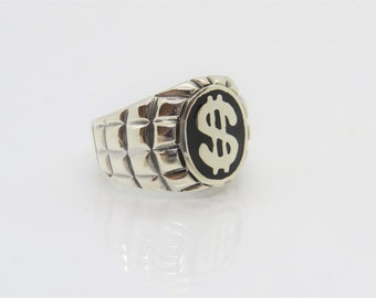 Vintage Sterling Silver Inlay Black Onyx Money Dollar Sign Mens Ring Size 8.5