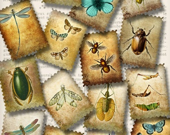 Bugs postage stamps printable letters hobby crafting scrapbooking digital instant download printable collage sheet - VDMIVI1251
