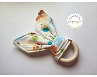 Eco Friendly Teether Wooden Teething Ring with Handmade Bunny Ears - Savannah Darlings