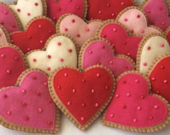 Cookie Valentine Ornaments-Valentine Hearts-Heart Ornaments-Valentine Cookies-Valentine Decorations-Valentine's Day Decorations-Felt Hearts