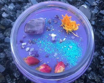INTUITION / AMETHYST / Sanctuary Candle / Crystal Candle / Ritual Candle / Crystal Activated Candle