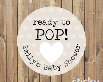 Personalized Ready to Pop Stickers, Baby Shower Stickers, Baby Shower Labels, Baby Shower Tags, Baby Shower Favors, New Baby Stickers, Baby