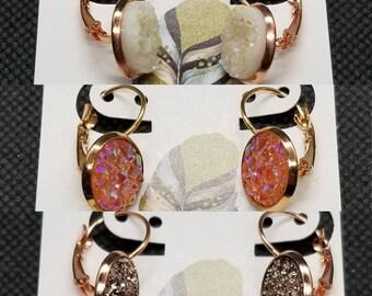 12mm Rosegold Tone Leverback Dangle Earrings, glitter/druzy
