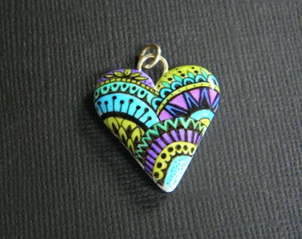 Ink Art Heart Pendant-original ink art-handcrafted