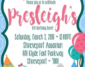 Aquarium Birthday Invite