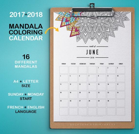 2017 2018 Kalender zum Ausdrucken Färbung Mandala Agenda