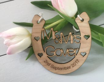 Wedding Anniversary horseshoe lucky personalised wooden gift keepsake