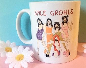 Spice Grohls  90s white ceramic mug 325ml. Front and back print