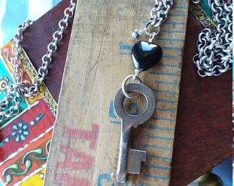 Antique Key and Black Heart Necklace