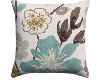 BRAEMORE Euro Sham, Floral Designer Teal Pillow, Decorative Pillow Cover, Teal Throw Pillow,  Teal, Green, Aqua, Brown, Beige Accent Pillow