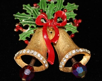 Vintage Signed Weiss Christmas Bells Holly Brooch