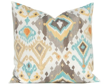 One Outdoor Pillow Cover - Throw Pillow Cover - Patio Decor - Cushion Cover - Ikat Pillow - Designer 100% Polyester Fabric - Pool Decoration