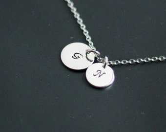 Silver Handstamped Necklace, Initial Pendants Necklace, Personalized Initial Pendant, Personalized Jewelry,Monogram, Minimalistic Necklace