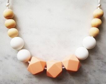 "FREE SHIPPING AU Silicone and Wood Necklace ""Sophia Peach White"" (was teething), nursing necklace, baby sensory"
