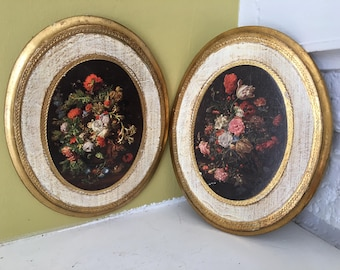 Pair of Florentine Italian Plaques / Flowers Gold / Made in Italy / Wall Hanging Artwork