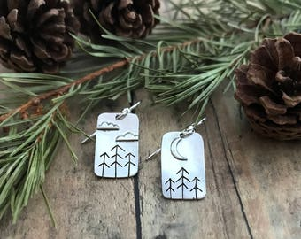 Pine Trees, Clouds and Crescent Moon Earrings, Hand Cut, Sterling Silver, Stick Pines, Clouds and Crescent Moon Earrings