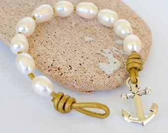 Gold Leather and Pearl Bracelet, Antiqued Silver Anchor and Gold Leather with Freshwater Pearls, Nautical Preppy, Other Colors Available