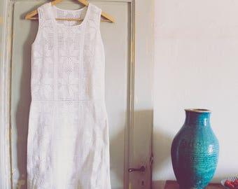 Crochet Dress, Handmade White Lace Dress, Simple Wedding dress