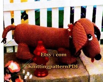 Dachshund Dog Toy Crochet Pattern PDF, Instant Download - 2