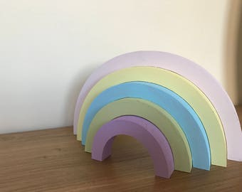 freestanding stacking rainbow, pastel rainbow, nursery rainbow decor, decoration for nursery, rainbow baby decor, rainbow baby, baby loss