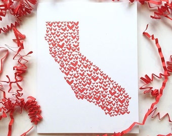 California Valentine's Day Card, California Card, California Love, California Gift, Valentine's Day Card, State Love, California Gifts