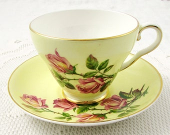 Vintage Tea Cup and Saucer by Royal Grafton, Yellow with Pink Roses, English Bone China