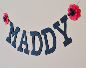 "Felt Flower / Baby Name Banner / Pink & Black / Wedding Decor / Dorm Room Decor / Birthday / Other Colors / 4"" Upper Case"