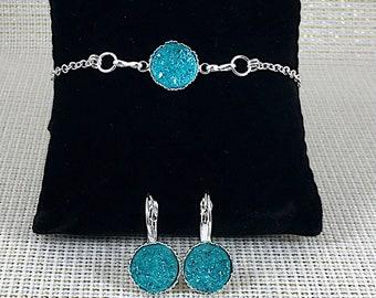 Bridesmaid Gift - Aqua Druzy Jewelry Set - Druzy - Bridesmaid Jewelry Set - Aqua - Druzy Earrings - Druzy Bracelet - Turquoise - Jewelry -