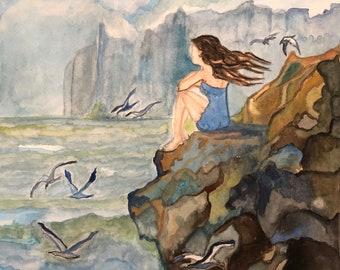 Original watercolor painting landscape 9x12