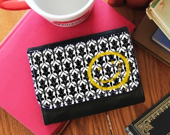 """SHERLOCK  """"Bored Smiley""""  Small or Big Wallet  Faux Leather Wallet"""