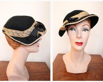 1930s Hat // Ginger Rose Golden Wool Hat // vintage 30s hat