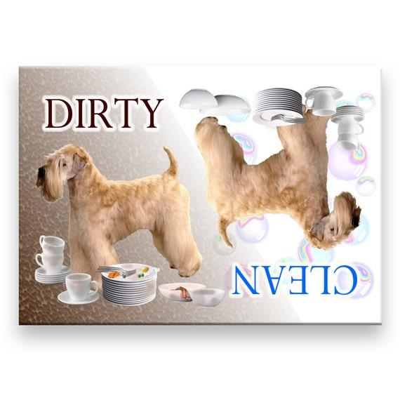 Wheaten Terrier Clean Dirty Dishwasher Magnet