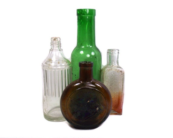 Antique Brown Green and Clear Bottle Set