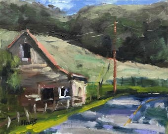 Original Plein Air Painting Northern California Artist Morgan Hill ROSE BARN Los Gatos Chic Shabby Cottage Chic Decor Landscape Paintings