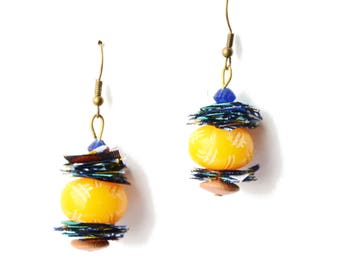 Ethnic earrings of African Inspiration - Earrings pearls ethnic & African Wax fabric scraps