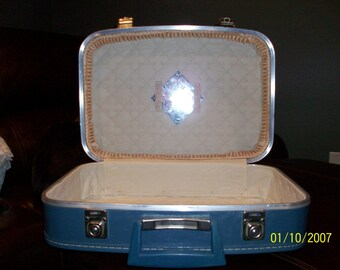 Two piece vintage blue suitcase set