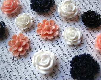 Magnet Set, 12 pc Flower Magnets, Navy Blue, Peach and White, Strong Magnets, Kitchen Decor, Housewarming Gift, Wedding Favor