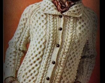 Aran Sweater Pattern - Knitting - Women Size 12, 14, 16, 18 - PDF 12286869 - Instant Download