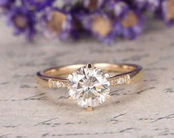 18K Yellow Gold Moissanite Engagement Ring with diamond,Are Deco Promise Ring for her,anniversary ring  channel set,custom made fine jewelry