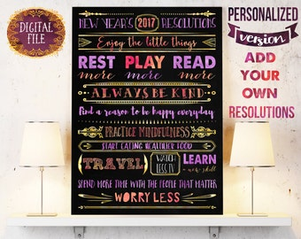 Chalkboard sign with new years resolution list - Christmas gift for yourself, for your wife or husband - Inspirational printable poster