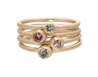 Diamond Ring, Engagement Ring, Sapphire Ring, Pink Sapphire Ring, Stacking Rings, Champagne Diamond, Green Diamond, Gold Rings, Nixin