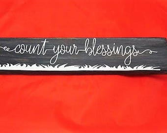 """Inspirational Wood Sign, Say's: """"Count your blessings"""" Rustic, Distressed .  Size 13.5""""x 3"""""""