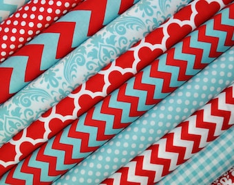 Red and Aqua Fat Quarter Turquoise Blue Bundle from Riley Blake Fabric. 100% cotton.  Chevron, Damask, Dot, and Quatrefoil - 10 FAT QUARTERS